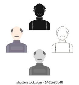 Bald head icon cartoon. Single avatar,peaople icon from the big avatar cartoon.
