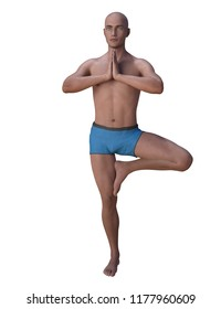 Bald man balancing in the yoga tree pose, the left knee is bent, the foot placed on the inner thigh, hands clasped together. 3d render isolated on white.