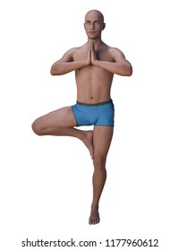 Bald man balancing in the yoga tree pose, the right knee is bent, the foot placed on the inner thigh, hands clasped together. 3d render isolated on white.