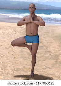 Bald man balancing in the yoga tree pose on a beach, the right knee is bent, the foot placed on the inner thigh, hands clasped together. 3d render.