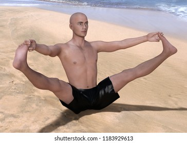 Bald man in black boxers practising the wide angle seated forward bend yoga pose on a sandy beach. Horizontal 3d render.