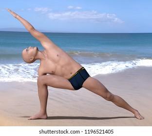 Bald man in black briefs practising the side angle or parsvakonasana yoga pose on a sandy beach. 3d render.