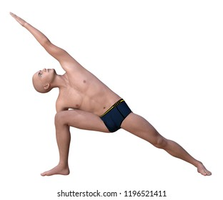 Bald man in black briefs practising the side angle or parsvakonasana yoga pose. 3d render isolated on white.