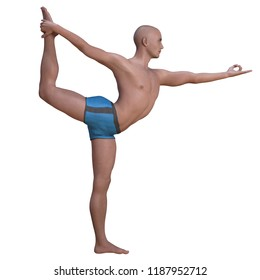 Bald man in blue briefs practising the lord of the dance or natarajasana yoga pose backbend-balancing on left foot. Square 3d render.