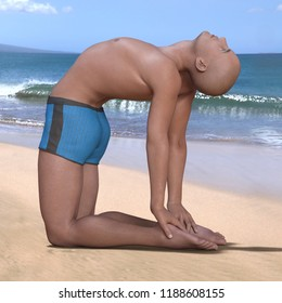 Bald man in blue briefs practising the camel or ustrasana yoga pose on a sandy beach. Square 3d render.