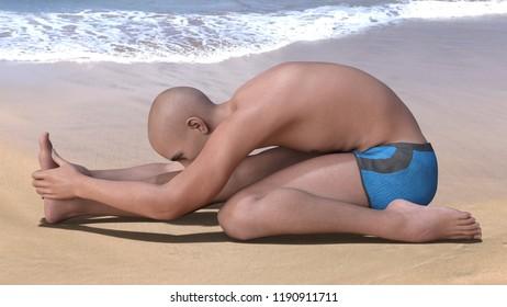 Bald man in blue briefs practising the triang mukhaikapada paschimottanasana yoga pose on a sandy beach. Horizontal 3d render.