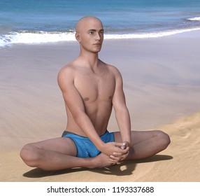 Bald man in blue briefs practising the butterfly or baddha konasana yoga pose on a sandy beach. 3d render.