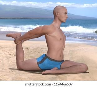 Bald man in blue briefs practising the pigeon or eka hasta pada kapotasana yoga pose on a sandy beach, left leg forward. 3d render.