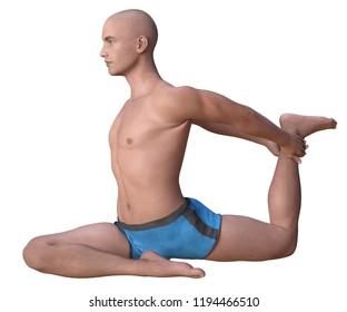 Bald man in blue briefs practising the pigeon or Eka hasta pada kapotasana yoga pose, right leg forward. 3d render isolated on white.