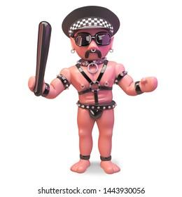 Bald man in gay fetish outfit wearing policemans hat, 3d illustration render