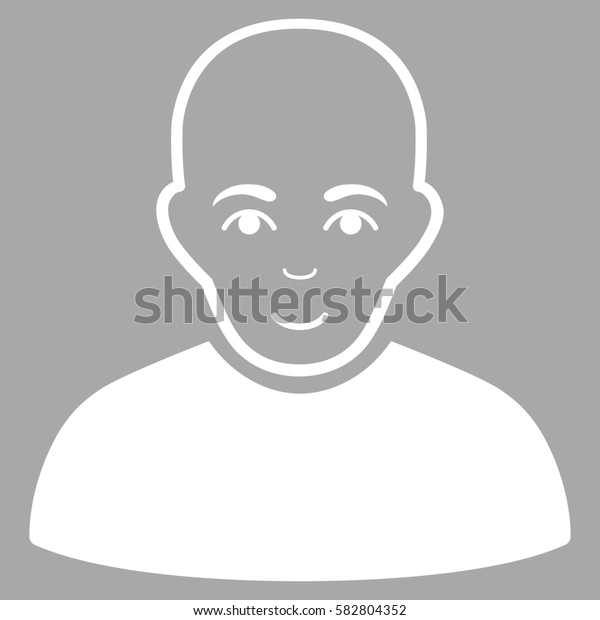 Bald Man glyph icon. Flat white symbol. Pictogram is isolated on a silver background. Designed for web and software interfaces.