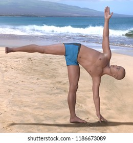 Bald man wearing blue briefs practising the ardha chandrasana yoga pose on a sandy beach, standing on left foot. Square 3d render.