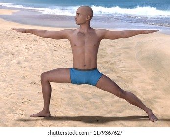 Bald man in the yoga warrior pose on a beach, bent knee and head turned right. 3d render.
