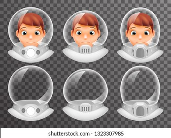 Bald Scientist Avatar Retro Realistic Helmet Cosmonaut Astronaut Spaceman Tantamareska Poster Transperent Glass Background Icon Template Mock Up Design  Illustration