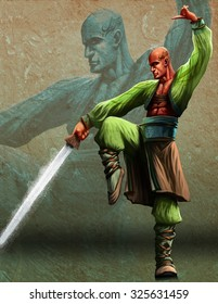 a bald young master with a kung fu sword