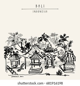 Balinese village in the tropical jungle with palm trees in Candidasa, Bali, Indonesia, Asia. Summer tropical vintage landscape. Exotic location. Hand drawing. Travel sketch. Vintage postcard, poster