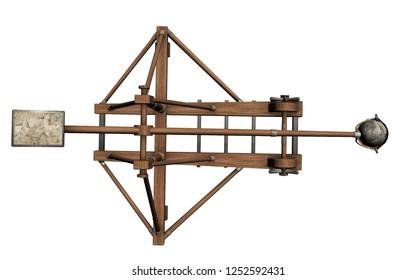balista, catapult, 3d visualization, illustration
