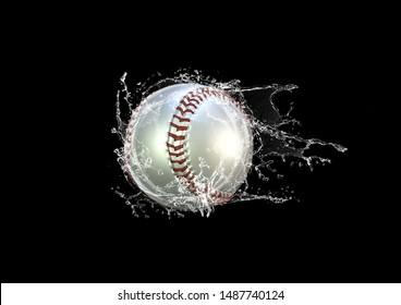 Ball of 3D illustration giving splashes