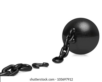 Ball and Chain - Broken Free. A broken link freeing the captured.