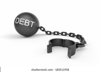 "Ball and chain opened with ""DEBT"" text on the ball. This image indicates that a person is free from his debts."