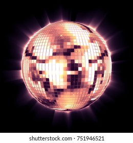 ball disco pink mirror discoball pink glitter white concept on a black background. 3d render
