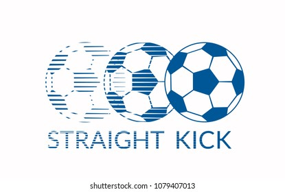 Ball with effect of disappearance above words STRAIGHT KICK. Black and white illustration. Raster version.