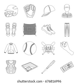 Ball, helmet, bat, uniform and other baseball attributes. Baseball set collection icons in line style bitmap, raster symbol stock illustration web.