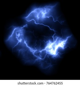 Ball lightning on a dark background.