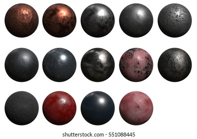 ball metal old 3d rendering different materials cannonball sphere