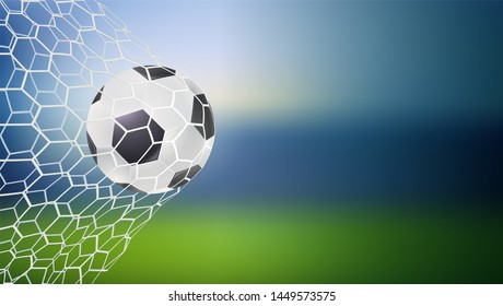 Ball in the net, moment og goal. Soccer game match goal moment. Football ball in goal. Banners for tournaments, championships. Template for posters and invitations 3D illustration.
