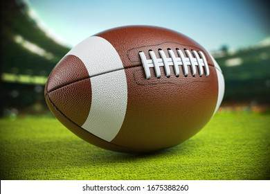 Ball on american football arena. 3d illustration