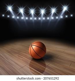 Ball on basketball court with spotlights , Basketball arena