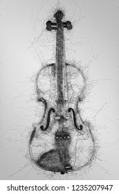 Ball pen scribble illustration of violin isolated on white background.