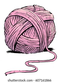 Ball of pink yarn