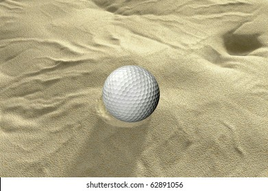 ball in sand trap 3d golf render