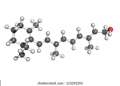 Ball and stick model of retinol (vitamin A). Atoms are coloured according to convention. Vitamin A is essential for vision, skin health, bone growth and teeth mineralization.