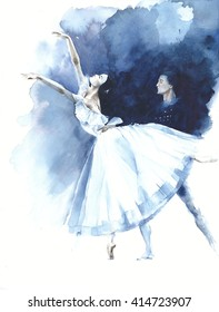 Ballerina dance ballet dancer Giselle watercolor painting illustration greeting card