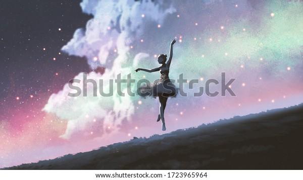 3d ballerina dancing on the hill against the night sky wallpaper illustration
