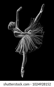 Ballerina drawing hand-drawn with chalk on black background