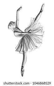 Ballerina drawing hand-drawn with pencil isolated on white