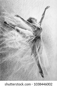 ballerina in the jump. pencil drawing