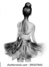 Ballerina .Watercolor illustration