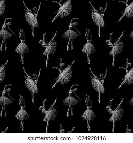 Ballerinas drawing hand-drawn with chalk. Seamless pattern