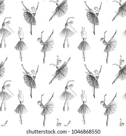 Ballerinas drawing hand-drawn with pencil. Seamless pattern