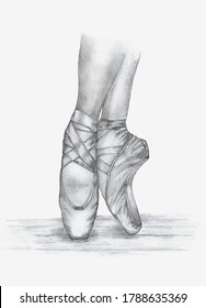 ballerina's feet in pointe pencil drawing