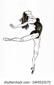 ballet dancer hand drawn illustration,art design,wall inspiration
