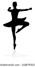 Ballet dancer silhouette dancing posed position