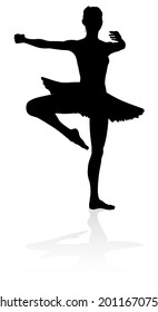 Ballet dancer silhouette dancing posed position
