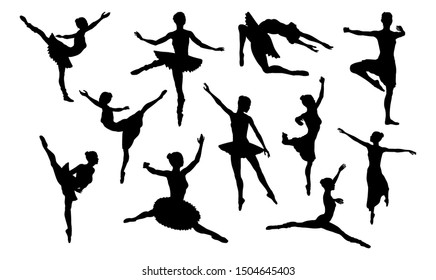 Ballet dancer in silhouette dancing in various poses and positions