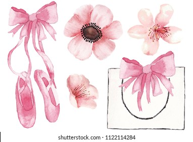 Ballet and flowers pink magnolia, blossom flower on white background